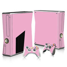 XBOX 360 Slim Skin Sticker Decal Cover + 2 Controllers SOLID PINK