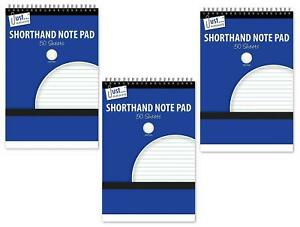 3x A5 Shorthand Pad Spiral Wirebound Note Book List Reporters Ruled 50 Sheet