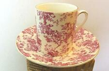 Demi Tasse Espresso Cup and Saucer Red Toille Gold Rim A Special Place