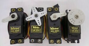 HITEC HS-300  STANDARD SIZE SERVOS QUANTITY 4  + HORNS & MOUNTS  GOOD CONDITION