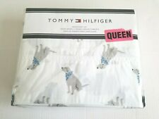 Tommy Hilfiger 4Pc Queen Sheet Set Labrador Lab Dog Retriever Blue Bandana, New