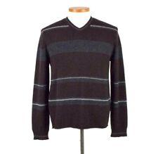 Banana Republic Wool Cashmere Sweater Brown Stripe Knit V Neck Jumper Mens Large