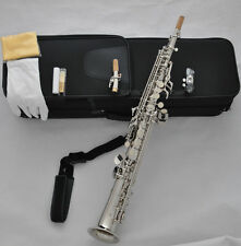 Professional Silver Soprano Saxello Curved Bell Saxophone with High G key