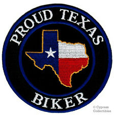 PROUD TEXAS BIKER iron-on PATCH - LONE STAR TEXAN FLAG embroidered STATE EMBLEM
