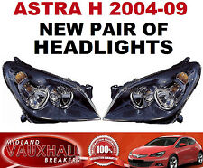 ASTRA H MK5 04-09 PAIR HEADLIGHTS HEADLAMPS BLACK OFFSIDE NEARSIDE SRI SXI CDTI