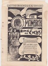 1890s Vintage Magazine Ad #B1-09 - Monarch Bicycles - King Of Cycles