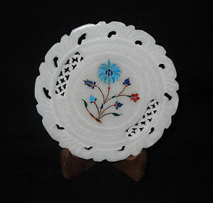 """5"""" White Marble Serving Plate Precious Turquoise Filigree Inlay Floral Art Decor"""