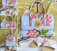 NEU Große Tasche Perlen-Schmetterling-Strass-Blumen Schultertasche Italy Blau
