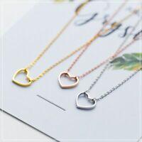 Echt 925 Silber Halskette 3 Farbe Herz Halsband Anhänger Frauen Schmuck Geschenk