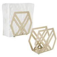 MyGift Modern Geometric Brass-Tone Metal Napkin Holder, Set of 2