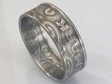 Münzring 5 Kroner Dänemark 1990 versilbert Ring Größe 68 / 8,5 mm Herz