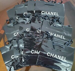 """Lot of 12 New Genuine CHANEL Black Paper Gift Shopping Gift Bag 10""""x 8"""" x 3"""