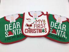 Lot Of 3 New Baby Christmas Bibs Baby's 1st Christmas Bib & Santa I Did My Best