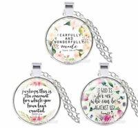 Christian Bible Verse Necklaces Glass Cabochon Pendant - 3 Necklace Set
