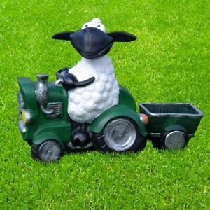 Schaf Molly auf Traktor grün mit Anhänger zum Bepflanzen Deko Figur Garten Deko
