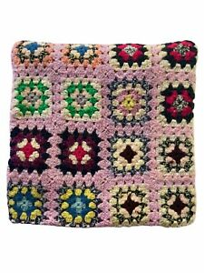 Vintage Granny Square Afghan Crochet Blanket Throw Handmade Multicolor Blue Hem