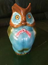Pichet Barbotine Ancien Chouette OWL JUG