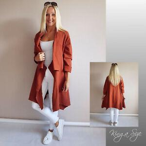 ITALY - Sweatmantel Jacke Mantel Long Pullover A-Form Asymmetrisch Gr.46 terra