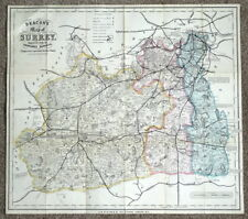 SURREY C.W. Deacon original antique railway map c1880