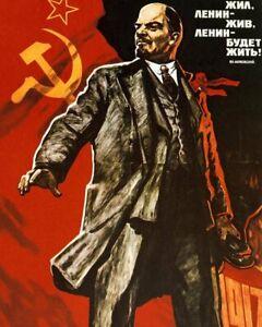 Long Live Lenin Soviet Union Poster Large A3 - Communist Marxist Socialism USSR