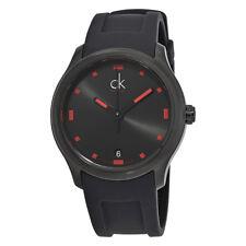 Calvin Klein Visible Black Dial Black Rubber Mens Watch K2V214DZ