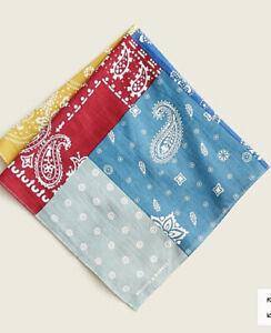 J CREW WALLACE & BARNES Multi Patchwork Paisley 20x20 Organic Cotton Bandanna