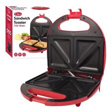 2 Slice Electric Sandwich Toast Toaster Maker 700w Non Stick Easy Clean Red