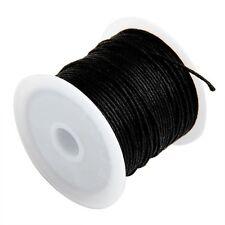 2x(Rotolo filo nero cotone cerato per collana perline 1 mm HOT HK
