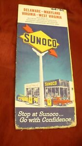 Sunoco 1965-65 road map gas & oil station USA Sun oil Delaware Maryland ...#MB