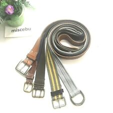 """5 Men's Woven Canvas Leather Buckle Belt Waist band Straps Up To 44"""" Gray Brown"""