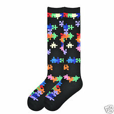 K.Bell Knee High Socks Bright Jig Saw Puzzle Pieces Ladies Rayon Blend Socks New