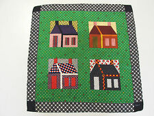 VINTAGE ECHO MOD SIGNED SILK SCARF PATCHWORK HOUSES HAND ROLLED