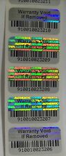 1000 Warranty Void BARCODE Security Hologram Tamper Evident Label Stickers Seals