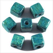 Lot de 40 Perles Cubes en Bois 8mm Vert Turquoise
