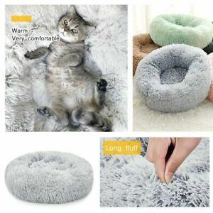 Warm Pet Dog Cat Calming Beds Comfy Round Fluffy Bed Nest Mattress Donut
