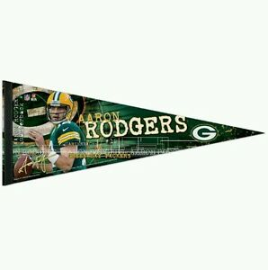 """AARON RODGERS GREEN BAY PACKERS PREMIUM QUALITY PENNANT 12""""X30"""" BANNER"""