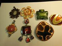 Lot de bijoux de 7 gros pendentifs  bijoux accessoires de mode 1990 vintage