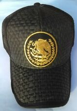 Mexican Flag Symbol Embroidered Trucker Hat Black Mesh Back Snap Back One Sized