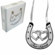 Wedding Silver Plated / White Double Heart Horseshoe Diamante - Just Married