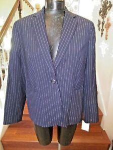 Lands' End Black Blazer Striped Lined New Pockets Button Career Size 14P