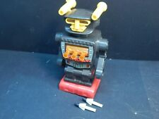 Vintage Hong Kong Red & Black Battery Operated Toy Robot w/ 2 Rockets