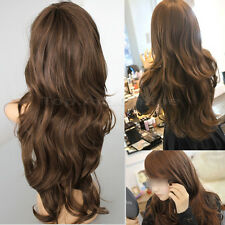 Femmes Cheveux Longue Ondulée Bouclés Cosplay Wig Perruque Hair-Brun clair