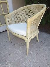 Faux Bamboo Barrel Club Arm Chair Hollywood Regency Cane Tube TLC Lounge