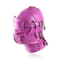Lockable Leather Gimp Bandage Hood Sensory Deprivation Mask Mouth Gag Blindfold