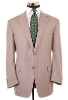 RECENT Canali Lt Brown Glen Plaid Check 100% Wool Sport Coat Jacket Blazer 44 R