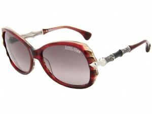 New Affliction Sunglasses Lizette Burgundy Silver, with Case, Tag, and Box