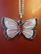 silver plated red butterfly pendant necklace
