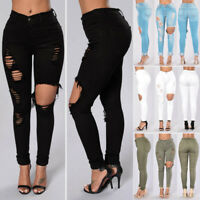 Women Hole Destroyed Ripped Distressed Denim Pants Boyfriend Jeans Trousers