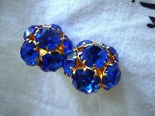 Earrings Round Cut Vintage Jewelry 1950's Vintage Royal Blue Crystal Rhinestone
