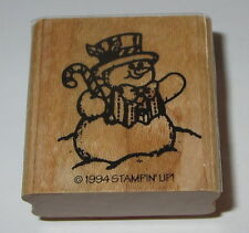 Snowman Stampin' Up! Rubber Stamp New Candy Cane Top Hat Bow Tie Winter Retired